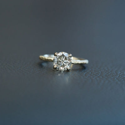 1.74ct Lightly Peppered Brilliant Light Champagne Diamond Solitaire in Evergreen Carved Recycled Yellow Gold