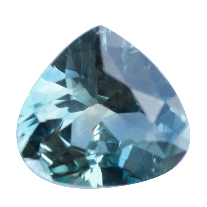 1.75CT MODIFIED PEAR MADAGASCAR SAPPHIRE, PARTI LIGHT BLUE GREEN YELLOW, UNTREATED, 8.4X7.9MM