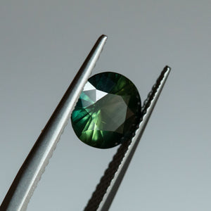 1.75CT ROUND MADAGASCAR SAPPHIRE, PARTI YELLOW GREEN BLUE, 7.75X4.22MM