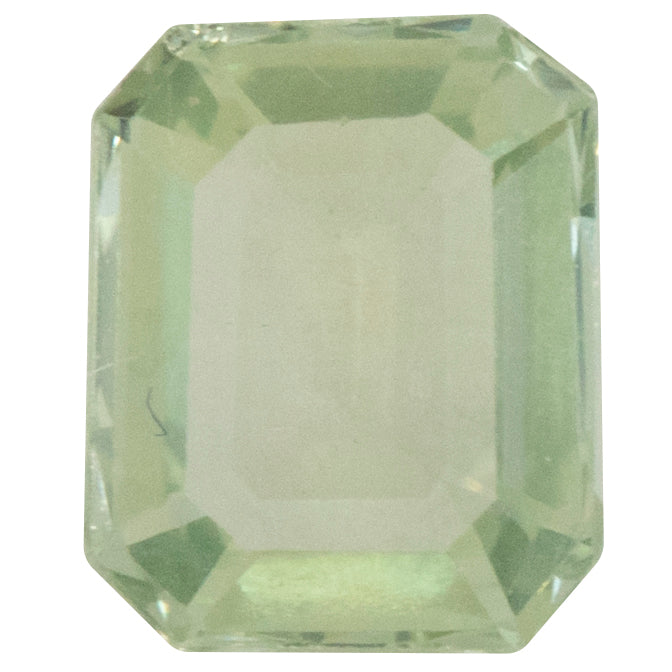 1.76CT EMERALD CUT MONTANA SAPPHIRE, GREEN YELLOW, UNHEATED, 7.94X6.46MM