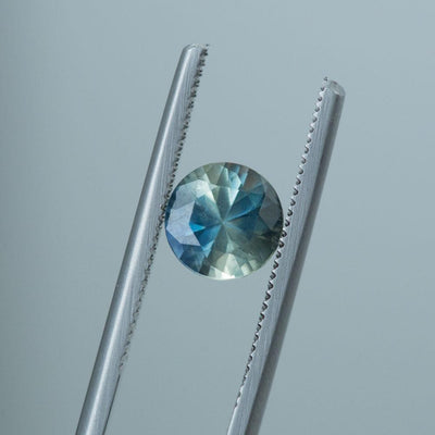 1.78CT ROUND MONTANA SAPPHIRE, PARTI BLUE GREEN YELLOW, 7MM