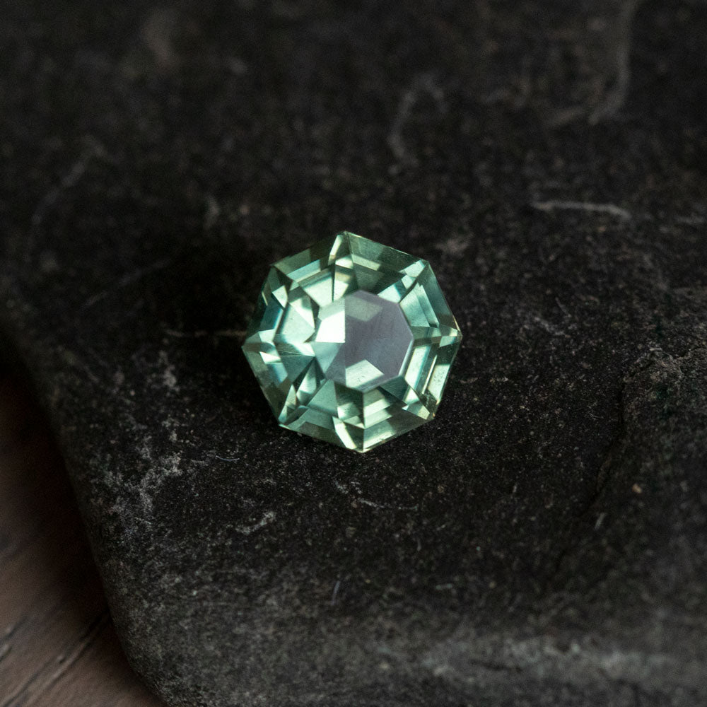 1.78CT GEOMETRIC OCTAGON MADAGASCAR SAPPHIRE, MINT GREEN TO PURPLE/GREY COLOR CHANGE, 6.56X4.75 HEATED