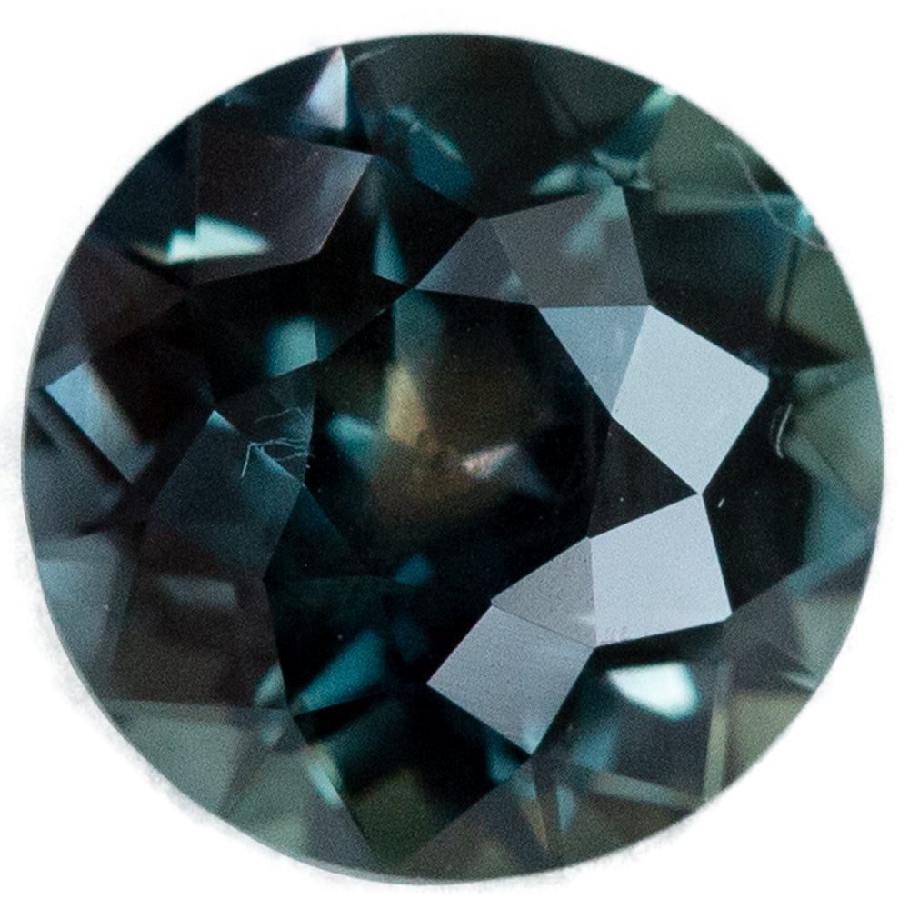 1.80CT ROUND TANZANIAN SAPPHIRE, DEEP GREEN WITH TEAL, 7.09MM