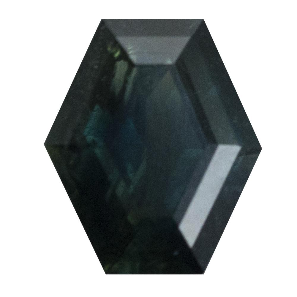 1.80CT GEOMETRIC HEXAGON SAPPHIRE, DEEP GREEN, 8.3X7.1MM