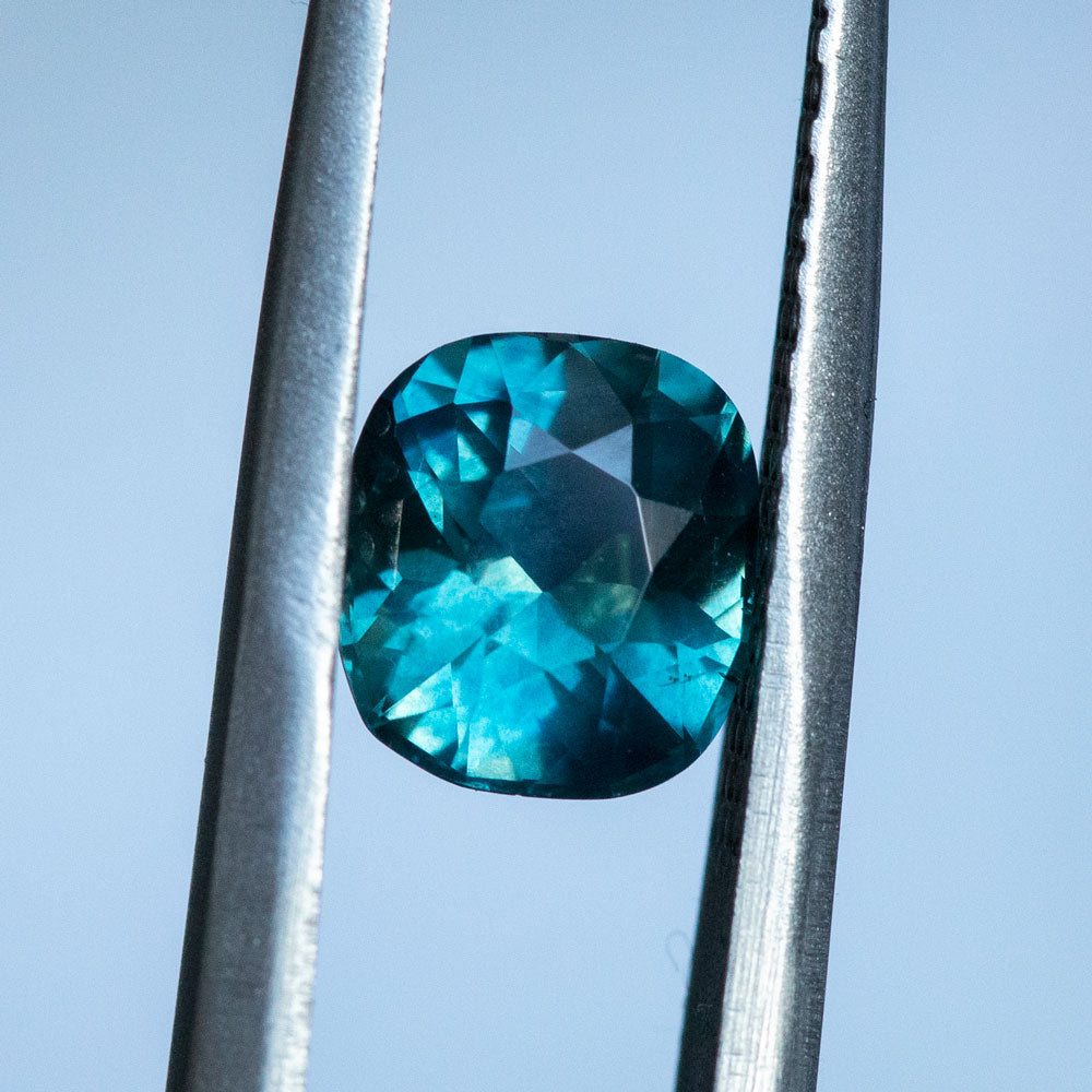1.81CT CUSHION MADAGASCAR SAPPHIRE, TEAL BLUE, 7.29X6.56MM, UNHEATED