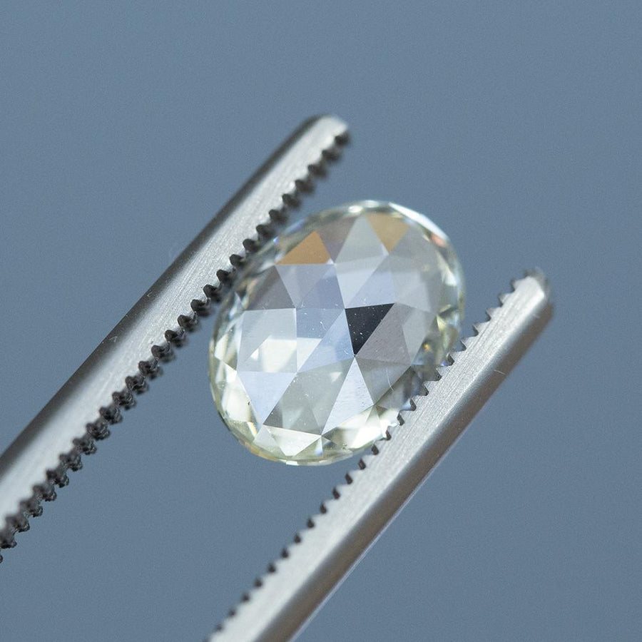 1.84CT OVAL ROSECUT DIAMOND, L COLOR, VS CLARITY, 9.29X6.94MM
