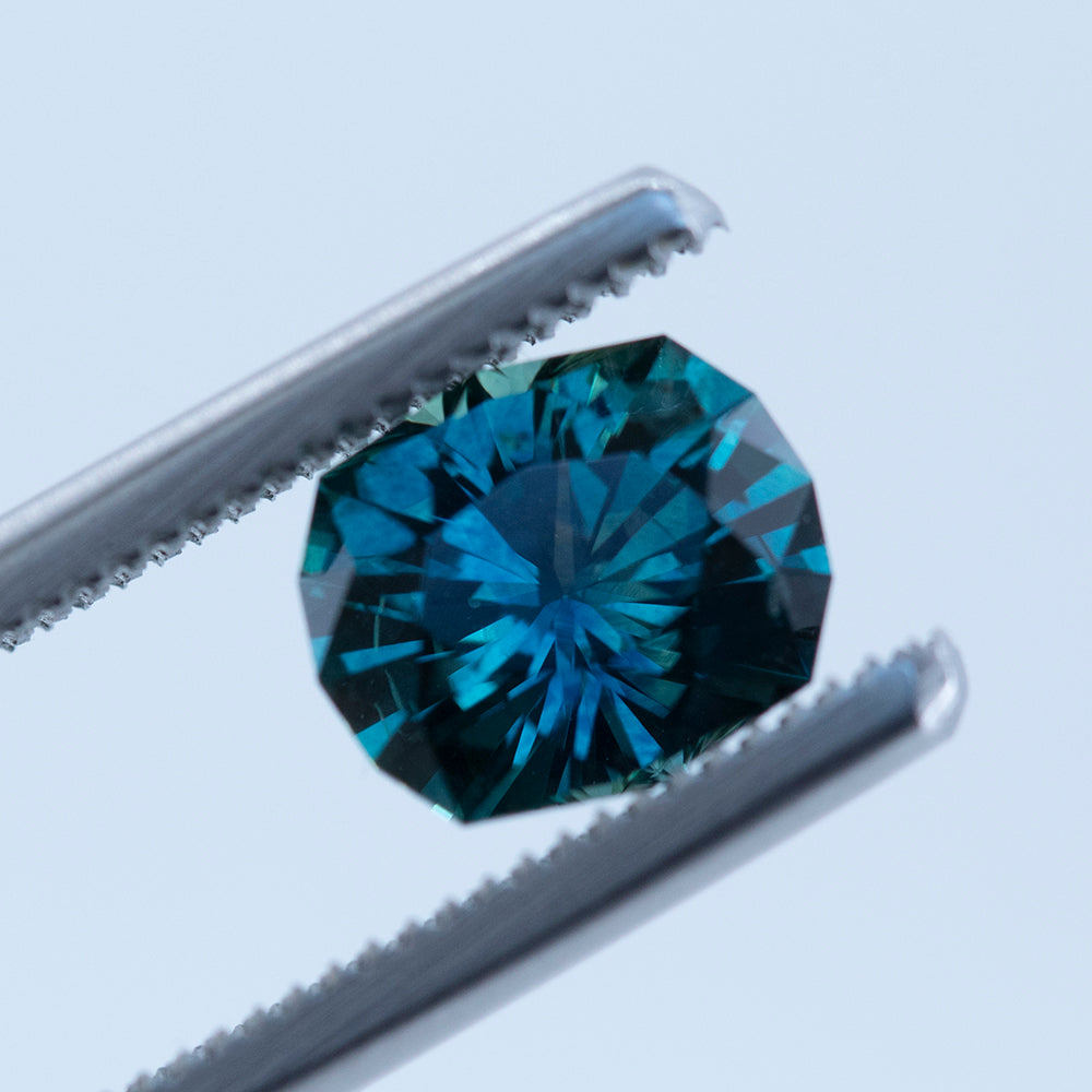 1.85CT FANCY ELONGATED CUSHION CUT MONTANA SAPPHIRE, TEAL BLUE, 8X6.8MM