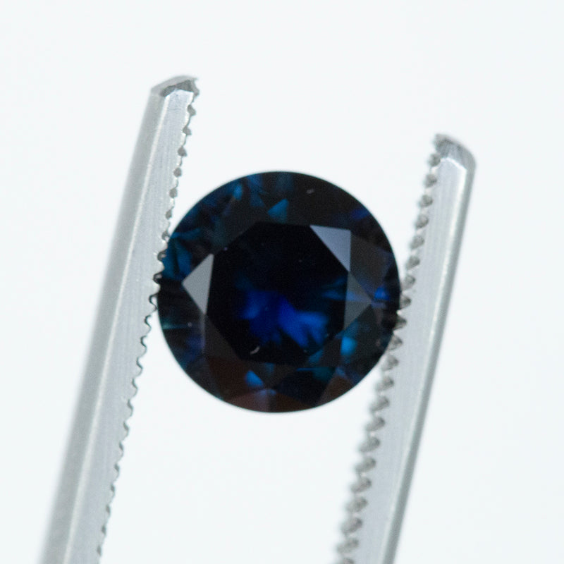 1.90CT ROUND AUSTRALIAN SAPPHIRE, DEEP DEEP ROYAL BLUE, 7.76MM. UNHEATED.
