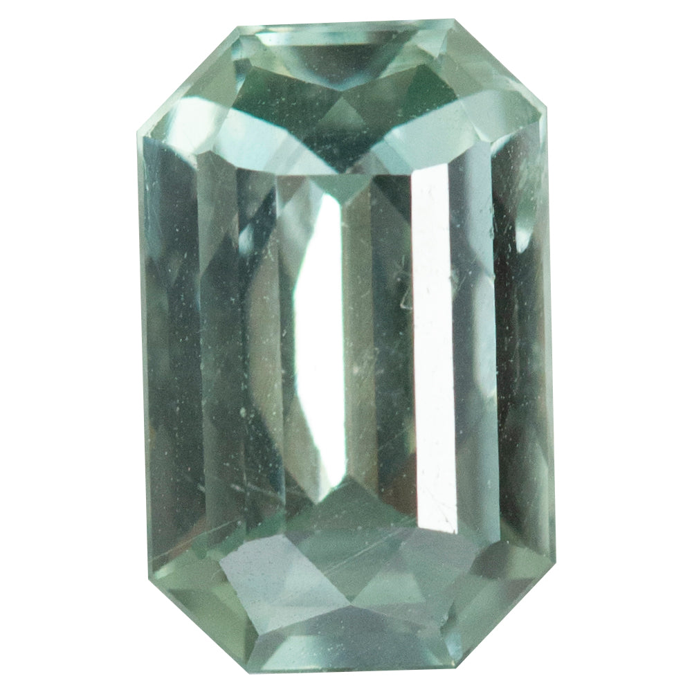 1.91CT EMERALD CUT MONTANA SAPPHIRE, LIGHT MINT GREEN, UNHEATED, 8.81X5.55MM