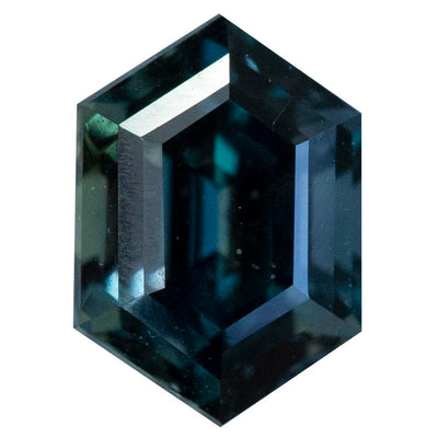 1.93CT MADAGASCAR ELONGATED HEXAGON SAPPHIRE, DEEP GREEN BLUE, UNHEATED, 8.43X5.93MM