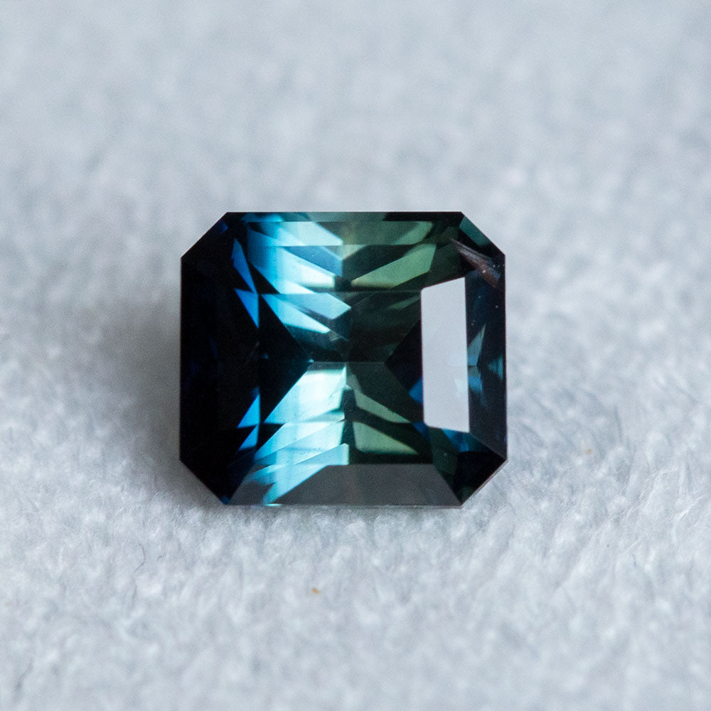 1.95CT SQUARE RADIANT MADAGASCAR SAPPHIRE, PARTI DEEP BLUE TEAL, 6.95X6.29X4.62MM