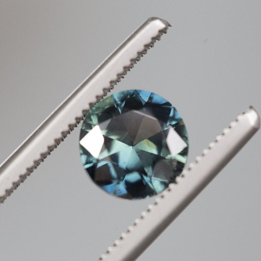 1.97CT NIGERIAN ROUND SAPPHIRE, DEEP BLUE GREEN TEAL, UNHEATED, 6.8MM