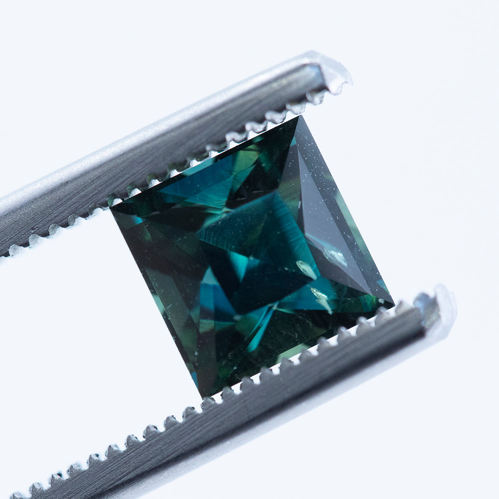 1.99CT PRINCESS CUT AUSTRALIAN SAPPHIRE, DARK TEAL GREEN, UNHEATED, 6.38X6.32MM