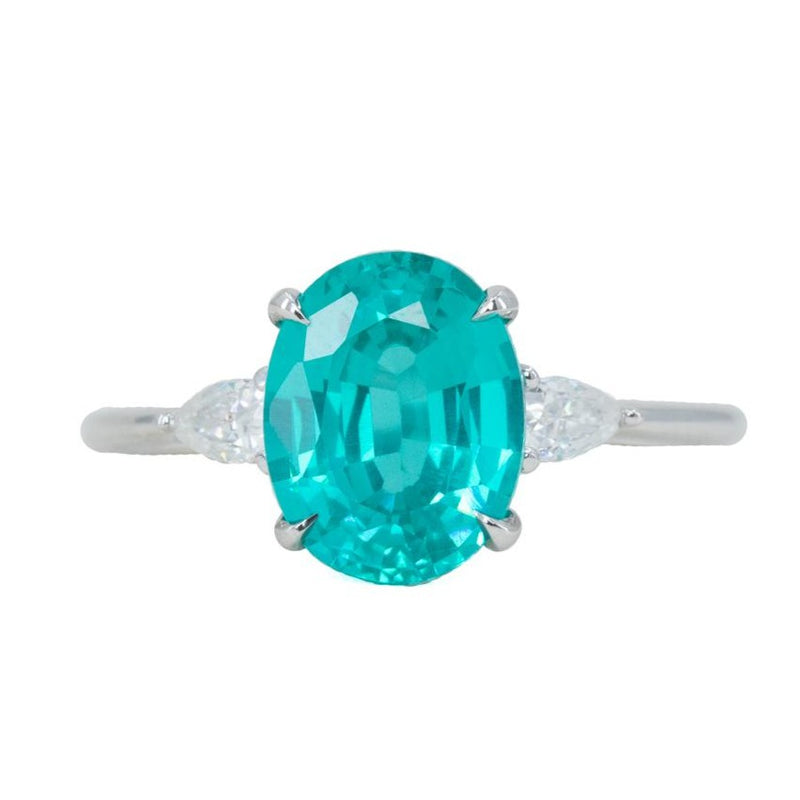 10x8mm Paraiba Teal Oval Garnet and Moissanite Three stone ring in 14k White gold