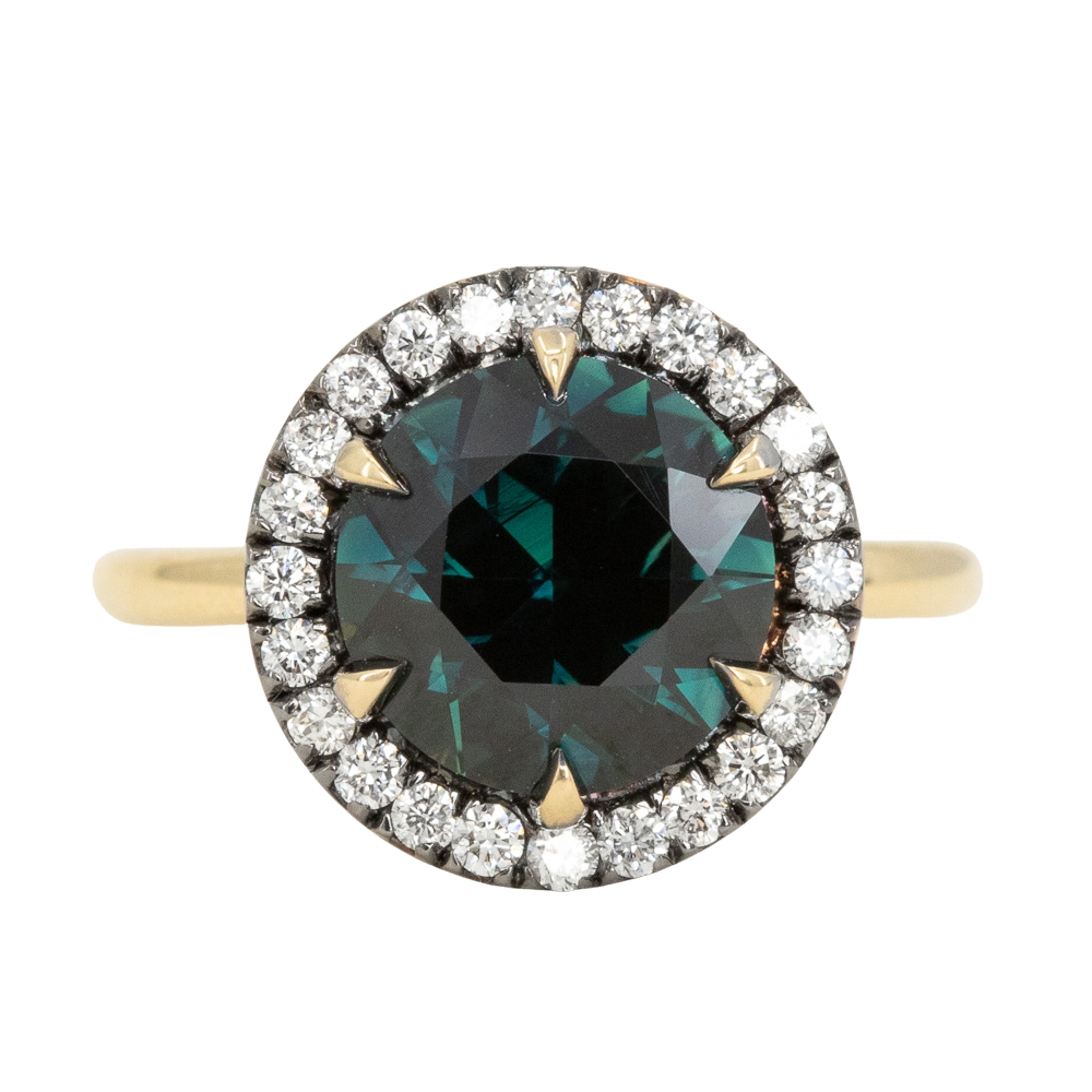4.0ct Australian Deep Teal Green Sapphire and Blackened Diamond Halo 18k Yellow Gold Six Prong Ring