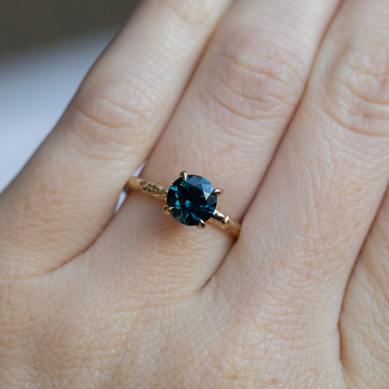 1.61ct Deep Blue Nigerian Sapphire Evergreen Solitaire Ring in 14k Yellow Gold
