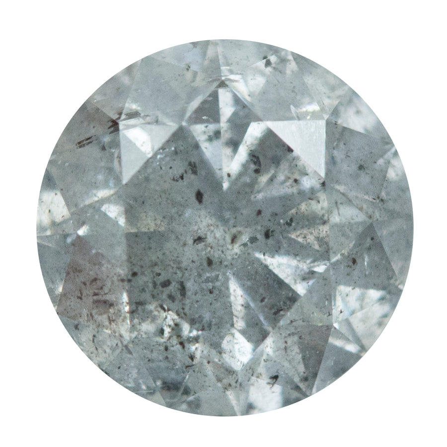2.78ct ROUND SPARKLING LIGHT GREY DIAMOND WITH DARKER SALT AND PEPPER INCLUSIONS 8.67X5.6MM
