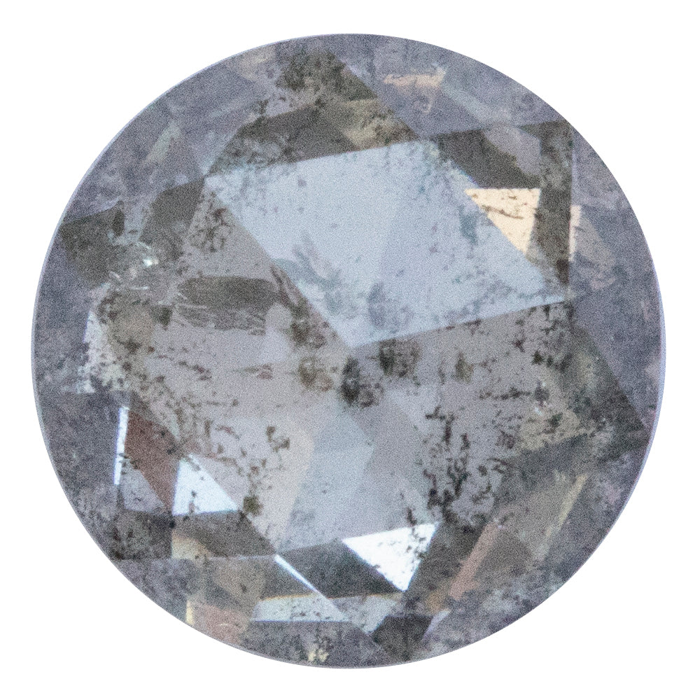 2.01CT ROUND ROSECUT SALT AND PEPPER DIAMOND, CLEAR WHITE WITH BLACK INCLUSIONS, 8.03MM