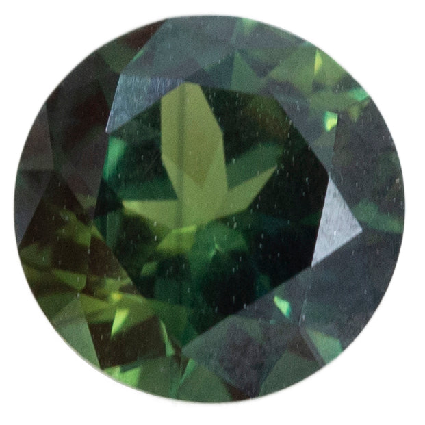 2.02CT ROUND NIGERIAN SAPPHIRE, DEEP GREEN TEAL, UNHEATED, 7.67X7.70MM