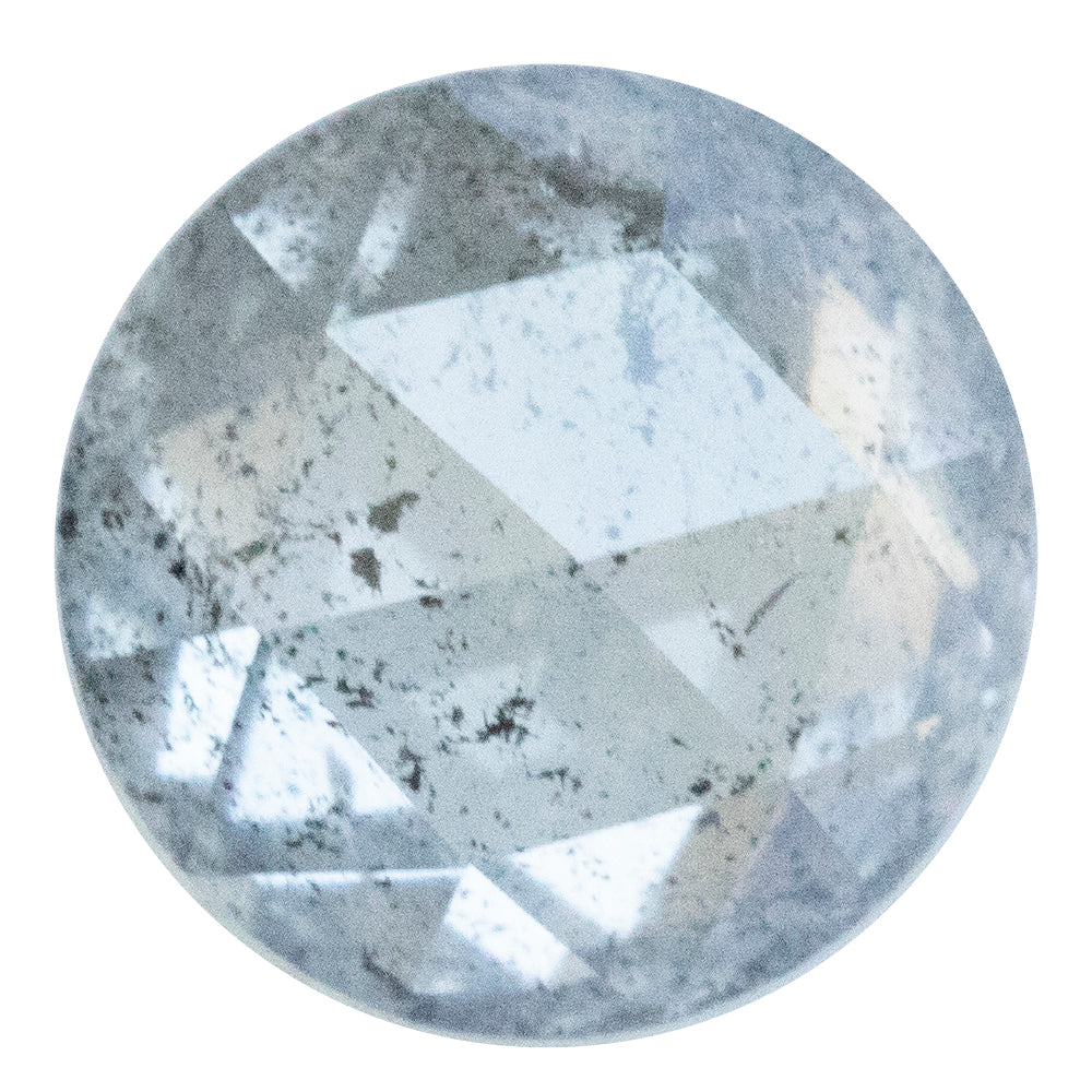 2.03CT ROUND ROSECUT SALT AND PEPPER DIAMOND, CLEAR WHITE WITH GREY INCLUSIONS, 7.76MM