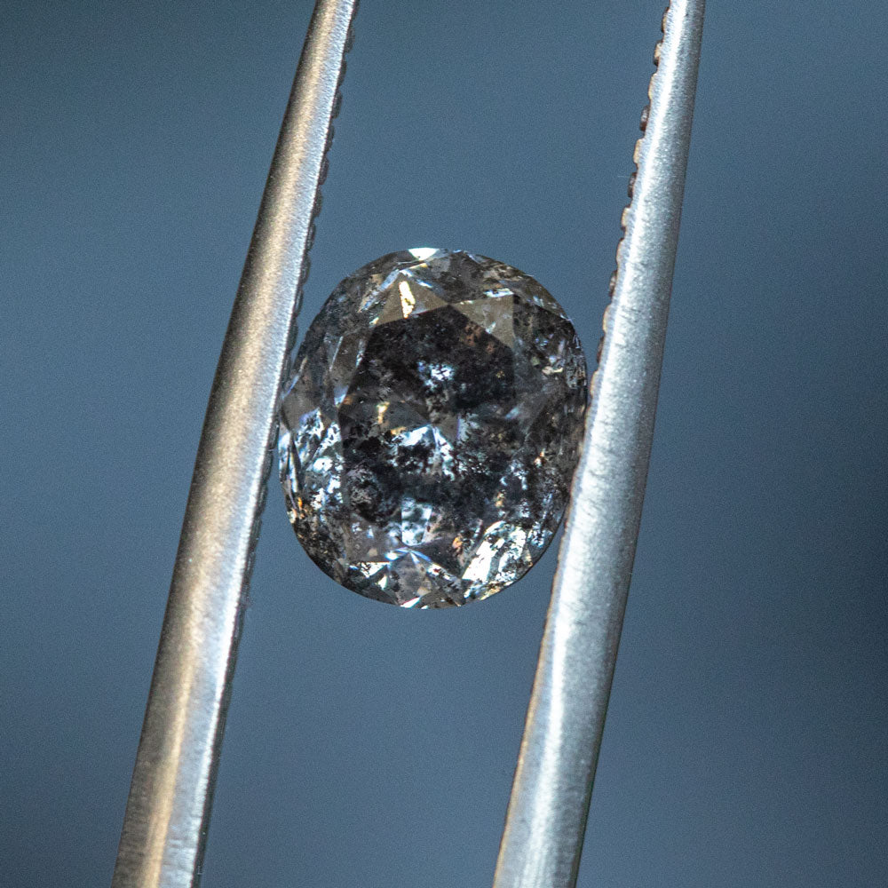 2.07CT OVAL SALT AND PEPPER DIAMOND, DEEP GALAXY, 7.83X6.53MM