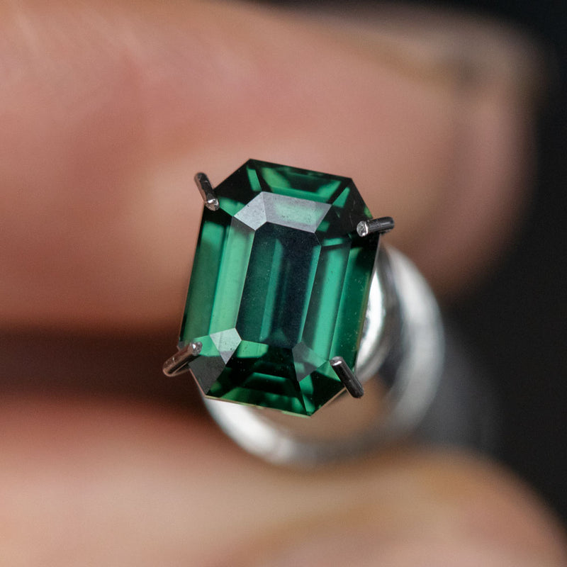 2.08CT EMERALD CUT MADAGASCAR SAPPHIRE, DEEP BLUE GREEN, 7.88X5.85X4.24MM