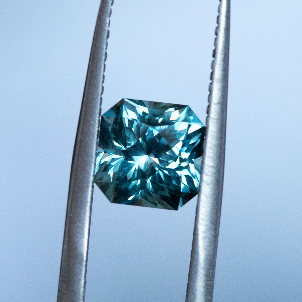 2.09CT SQUARE RADIANT MONTANA SAPPHIRE, MEDIUM STEELY BLUE, 6.9MM, UNHEATED