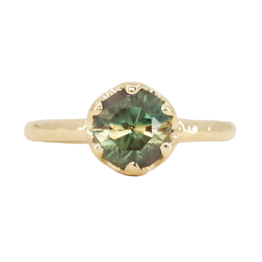 2.0ct Round Australian Parti Green Sapphire Six Prong Low Profile Evergreen Ring in 14K Yellow Gold