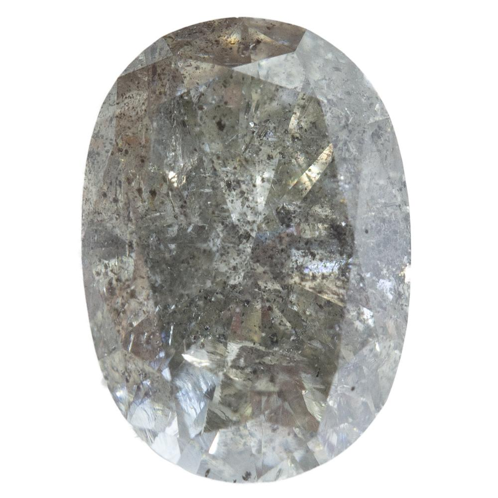 2.10CT OVAL SALT AND PEPPER DIAMOND, LIGHT GREY, 6.9X9.83MM