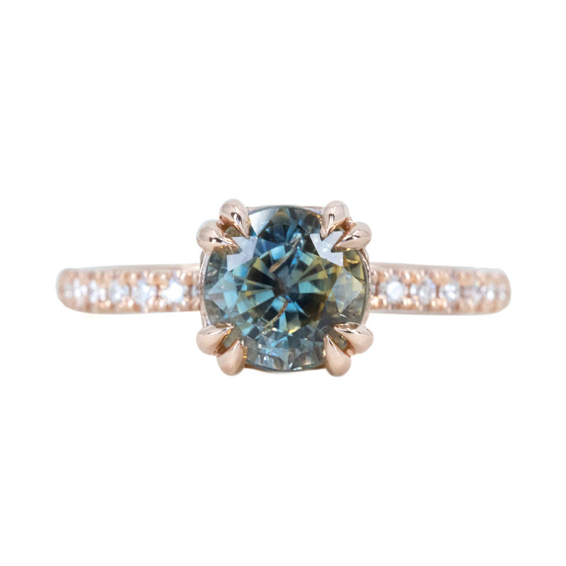 2.10ct Multicolor Sapphire Solitaire Double Prong Ring with Diamonds in 14k Rose Gold
