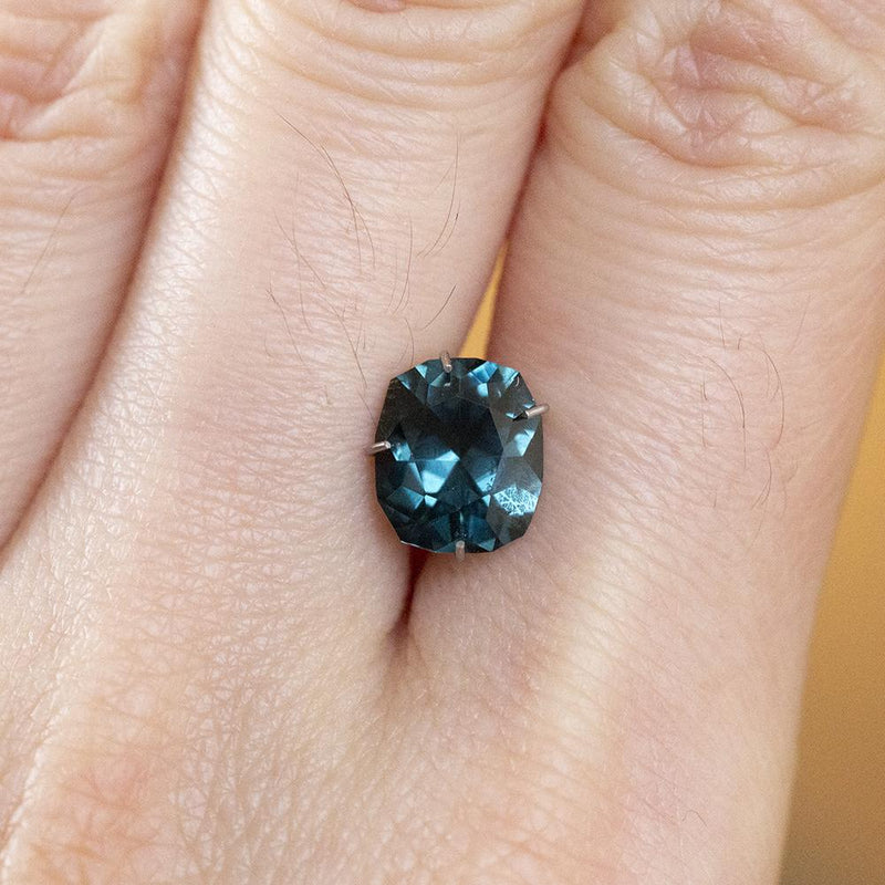2.13CT FANCY CUSHION SPINEL, TEAL BLUE, 8.4X7.23MM