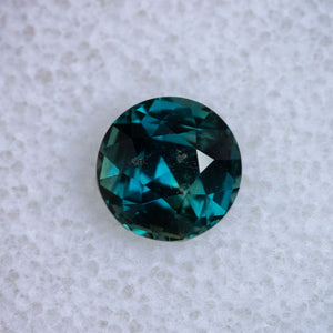 2.13CT ROUND MADAGASCAR SAPPHIRE, MEDIUM GREEN TEAL, 7.37X5.08MM