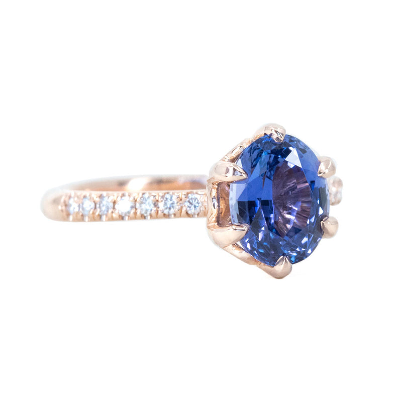 2.14ct Royal Purple Sapphire Diamond Studded Lotus Six Prong Solitaire in 14k Rose Gold