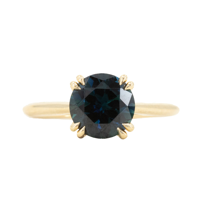 2.15ct Round Australian Blue Sapphire Hidden Halo Double Prong Solitaire in 18k Yellow Gold