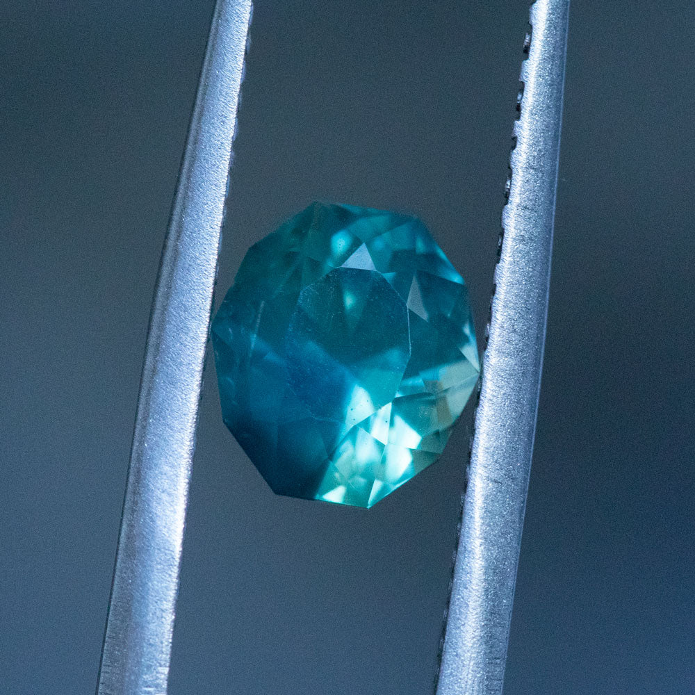 2.16CT GEOMETRIC OVAL MONTANA SAPPHIRE, DEEP TEAL BLUE GREEN, 7.51X6.77MM
