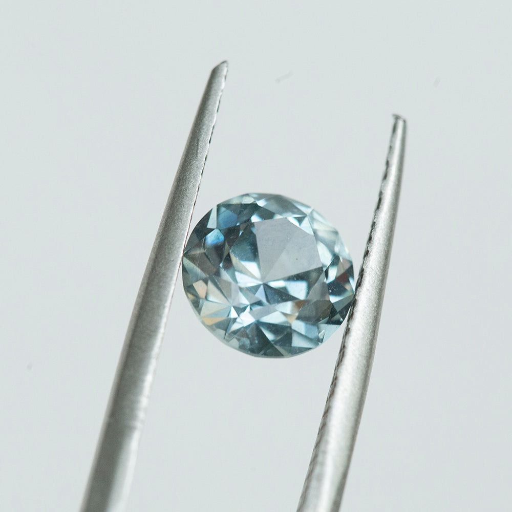 2.17CT ROUND MONTANA SAPPHIRE, OLD EUROPEAN CUT, SILVERY SKY BLUE, 7.62X4.99MM