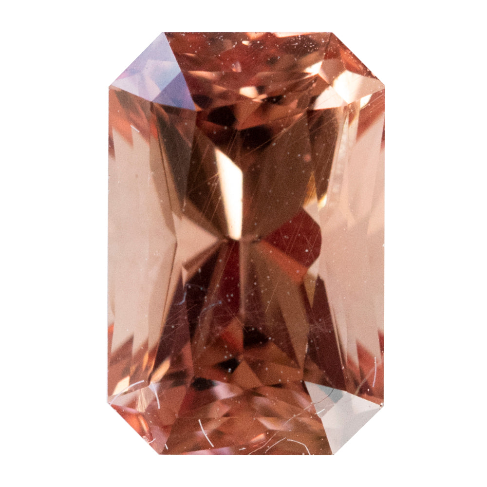 2.20CT RADIANT CUT UMBA GARNET, ORANGE/PEACH, UNTREATED, 8.6X5.6MM