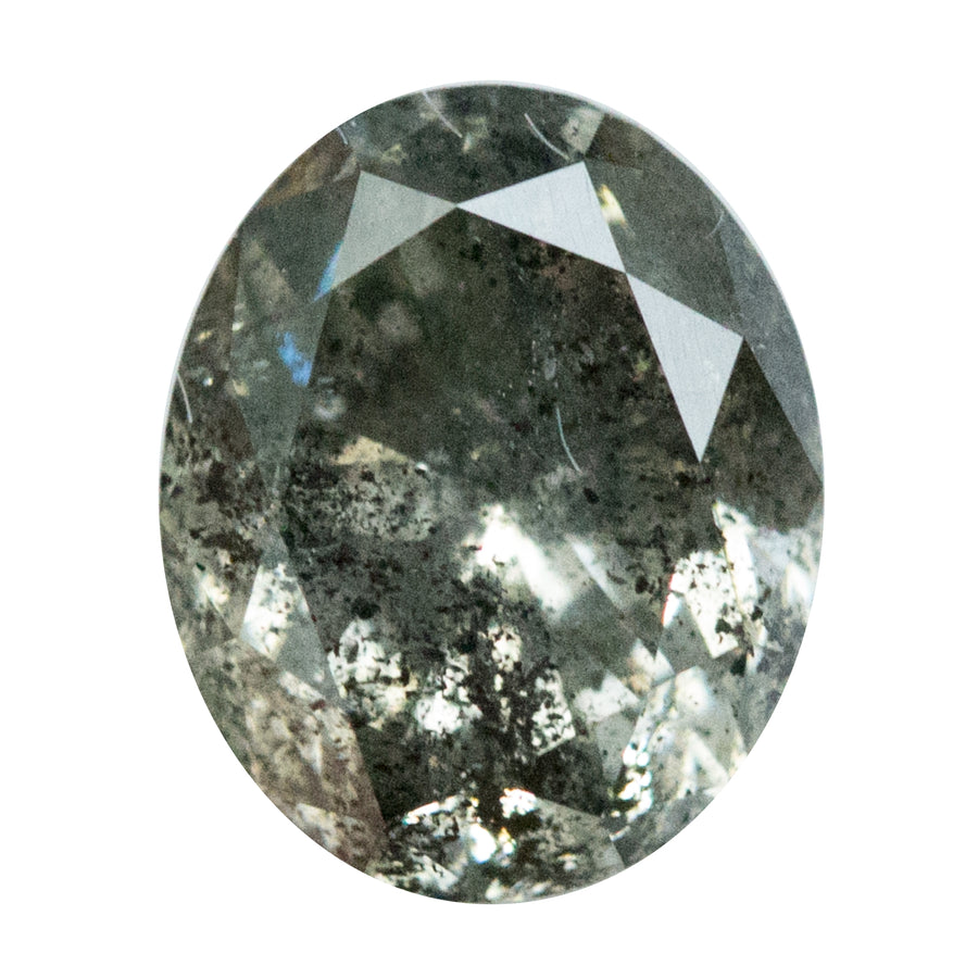 2.21CT DARK OVAL SALT AND PEPPER DIAMOND, SPARKLING BRILLIANT, SOME CHAMPAGNE COLOR, 8.59x6.98x4.92mm