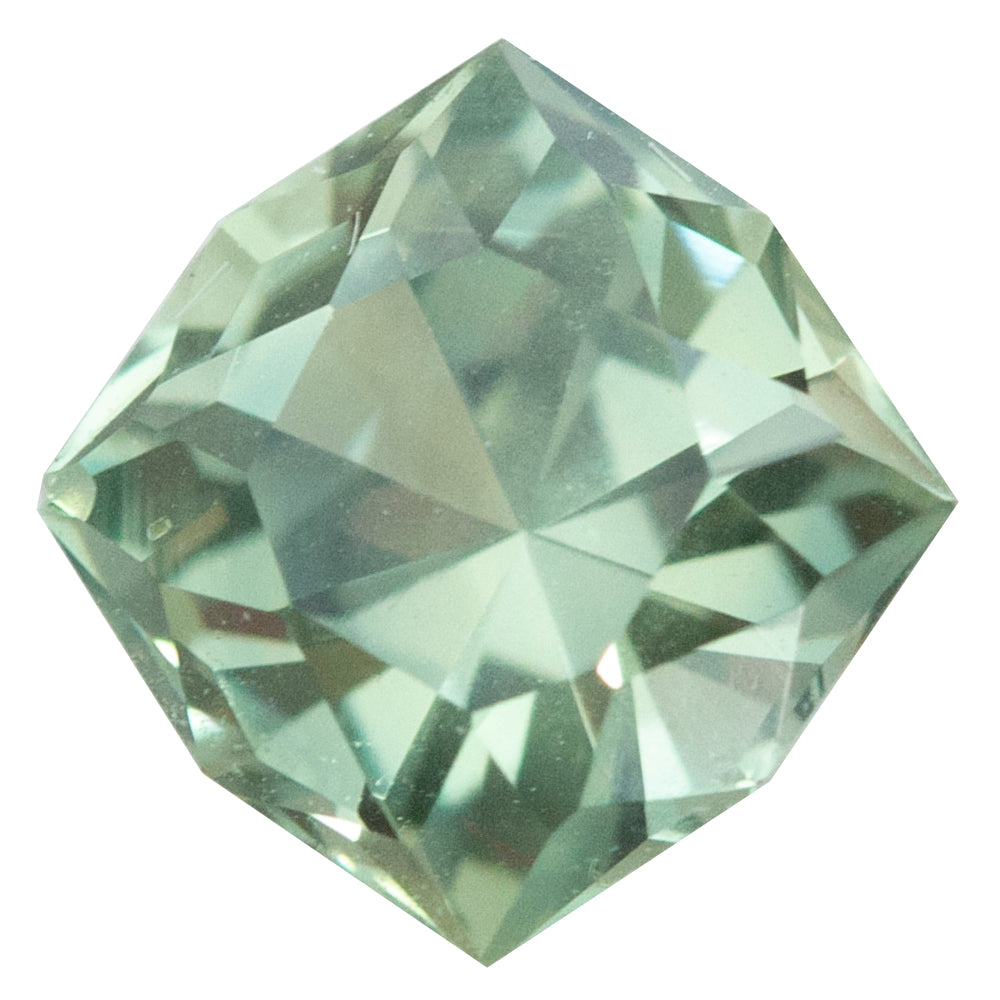 2.22CT FANCY CUSHION MONTANA SAPPHIRE, GIA, MINTY GREEN-YELLOW, UNHEATED, 7.58X7.55MM