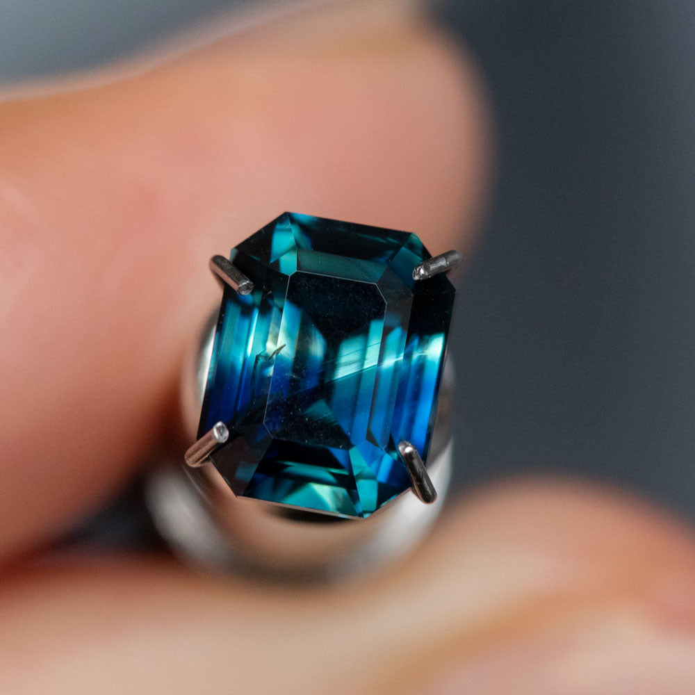 2.23CT MADAGASCAR EMERALD CUT SAPPHIRE, PARTI DEEP BLUE AND TEAL, 7.58X6.01X4.72MM