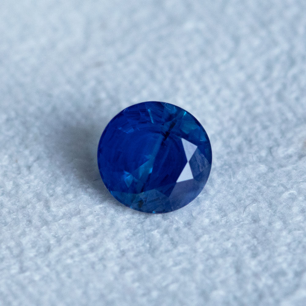 2.23CT ROUND MADAGASCAR SAPPHIRE, VIBRANT ROYAL BLUE, 7.53X5.02MM