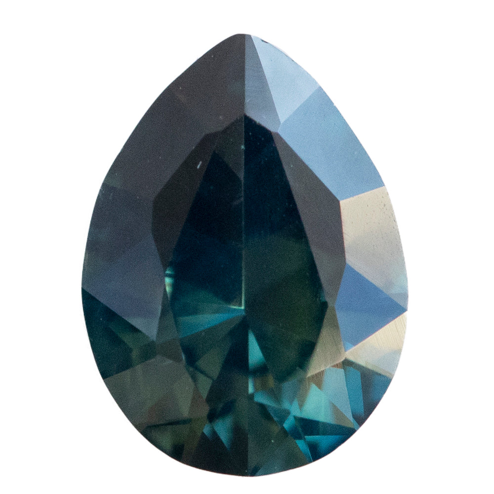 2.25CT PEAR NIGERIAN SAPPHIRE, DARK TEAL, UNTREATED, 9.64X7.09MM