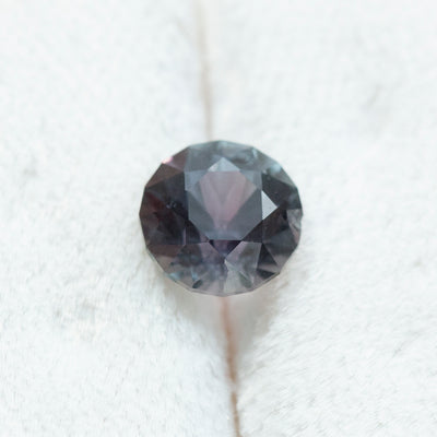 2.31CT ROUND MONTANA SAPPHIRE, GIA, COLOR CHANGING GRAYISH VIOLET TO PINKISH PURPLE, UNHEATED, 7.65X5.41MM