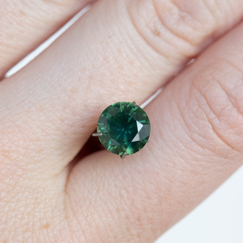 2.33CT ROUND AUSTRALIAN SAPPHIRE, FOREST EMERALD GREEN, 8.09MM