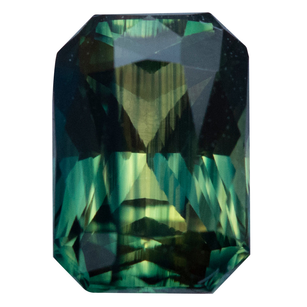2.36CT RADIANT CUT MADAGASCAR SAPPHIRE, PARTI GREEN, UNHEATED 8.63X6MM