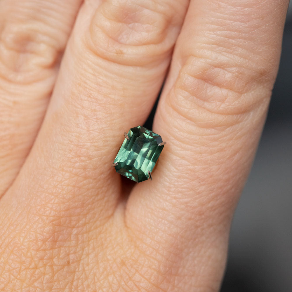2.38CT MADAGASCAR EMERALD CUT SAPPHIRE, PARTI TEAL MINTY GREEN, HEATED, 8.39x6.17x4.42mm