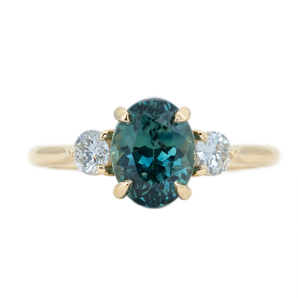 2.50ct Teal Blue Montana Sapphire and Diamond Three Stone Ring in 14k Yellow Gold