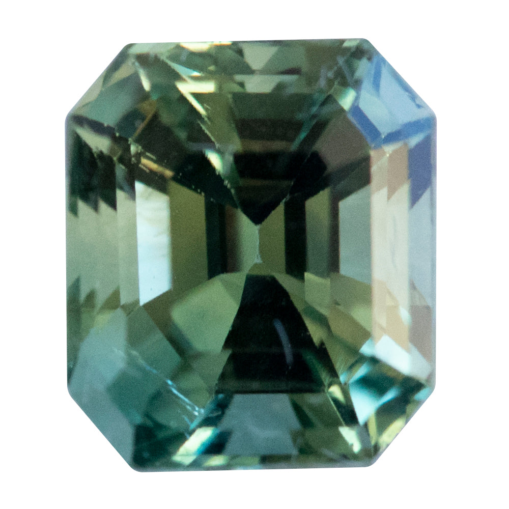 Temporary Hold- 2.55CT EMERALD CUT MADAGASCAR SAPPHIRE, GREEN YELLOW PARTI, UNHEATED, 7.67X6.59MM