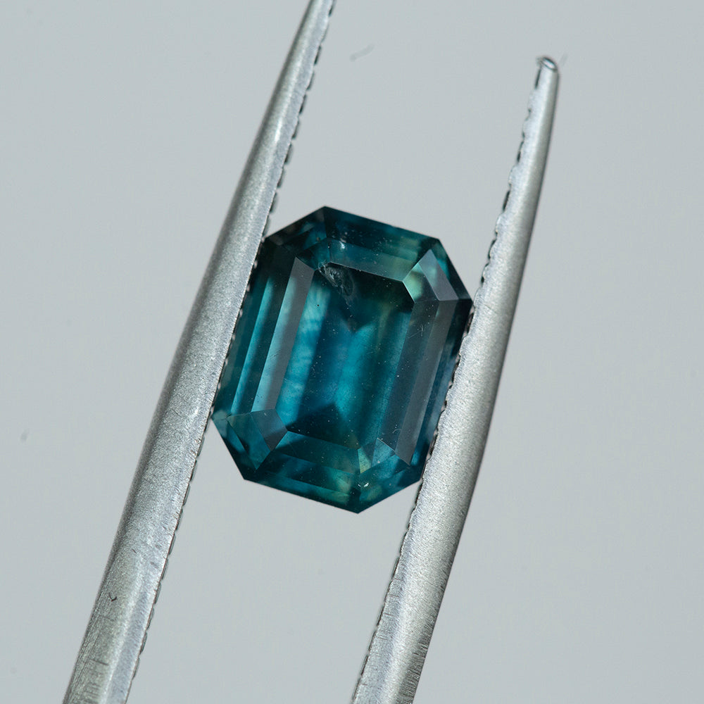 2.57CT EMERALD CUT MONTANA SAPPHIRE, GIA, TEAL BLUE,  8.14X6.20MM