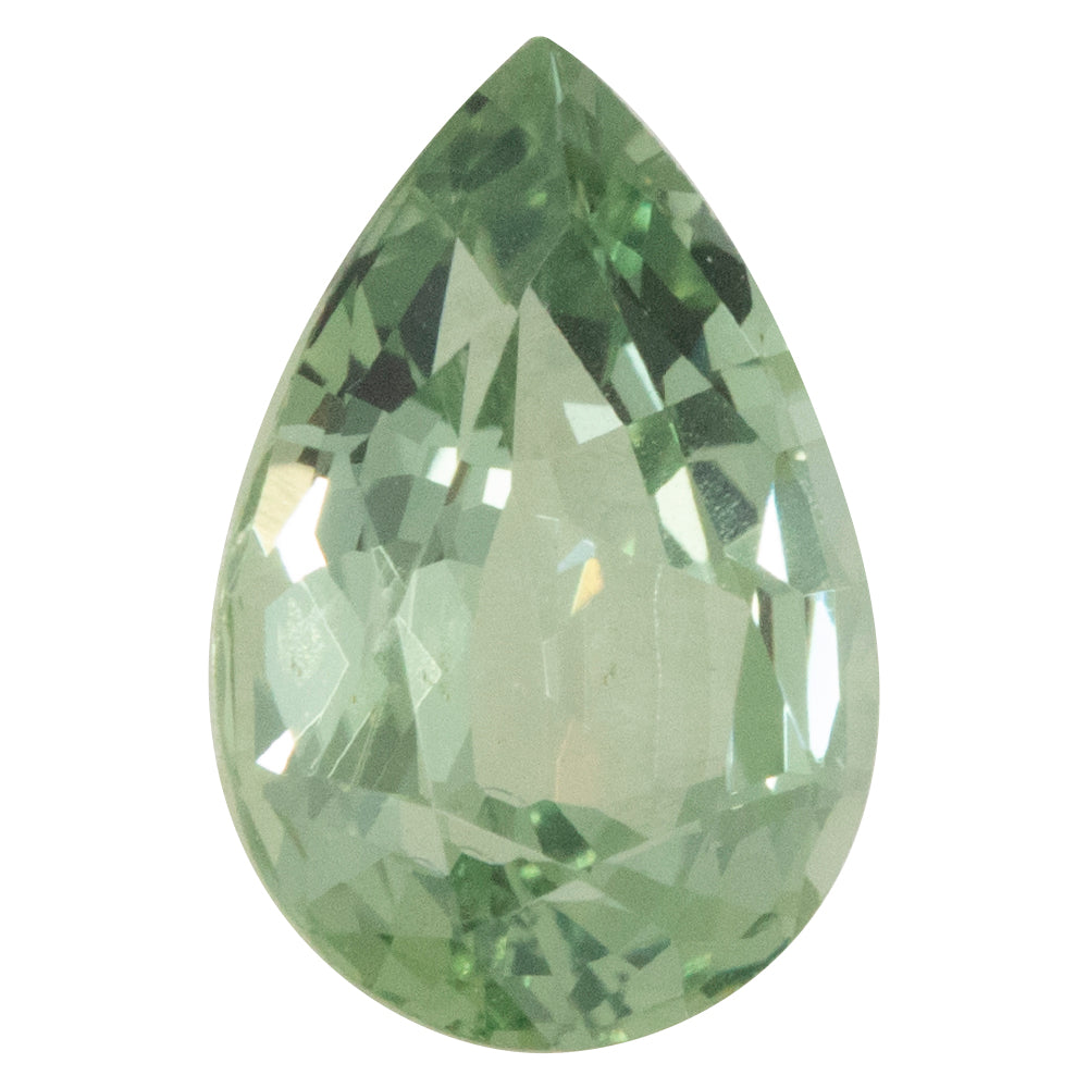2.69CT PEAR MONTANA SAPPHIRE, MINT GREEN BLUE GRAY, 10.5X7MM